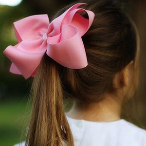 6 Inch 2 pcs/lot Girls' Grosgrain Ribbon Hair Bows with Clips Kids' Hairbows Solid Bow Children Hairclips Handmade Large Hairbow(China)