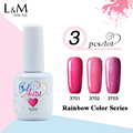 3pcs Gelartist Colorful Rainbow Nail Gel Polish Soak Off UV Color Gel Nail Polish 12colors for choose