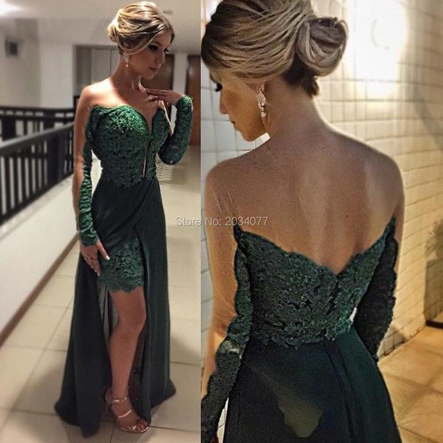 Green Bridal Arabic Long Evening Dresses For Women Long Sleeve Lace ...