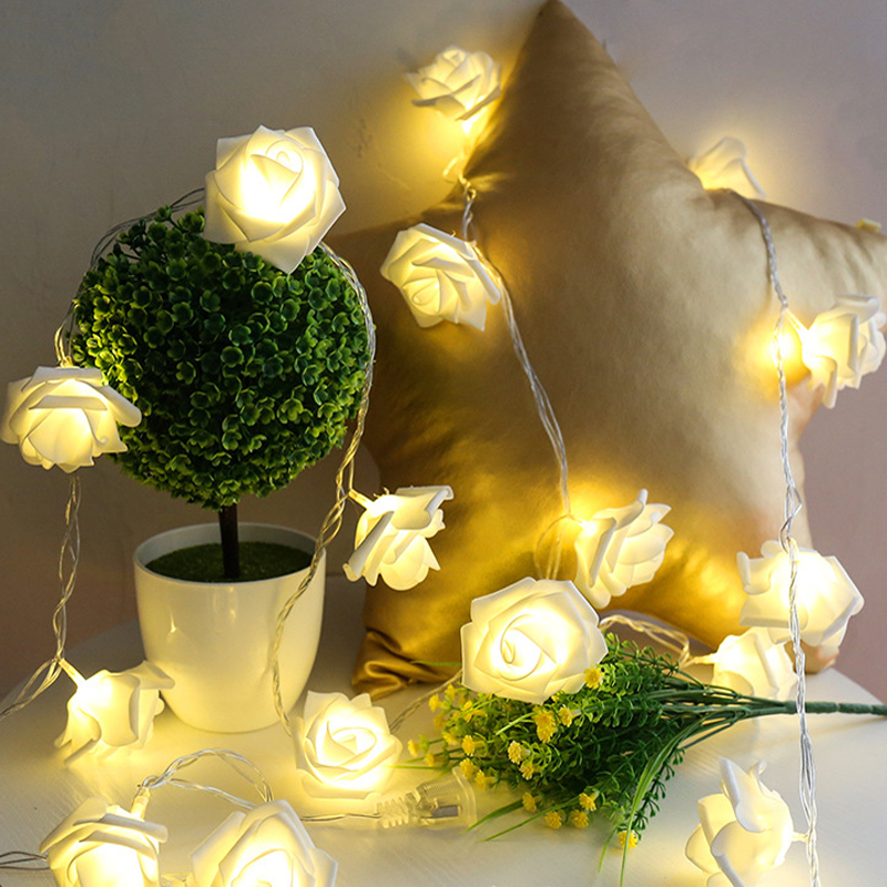 10 Led 20 Leds Romantic Rose Flower String Light For Holiday Wedding Xmas New Year Home Dedroom Table Decor AA Battery Garland (9)