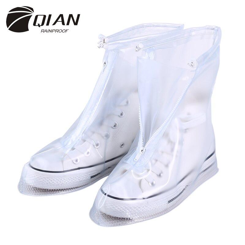 QIAN Waterproof Rain Reusable Shoes Covers All Seasons Slip-resistant Zipper Rain Boots Overshoes Men&Womens Shoes Accessories