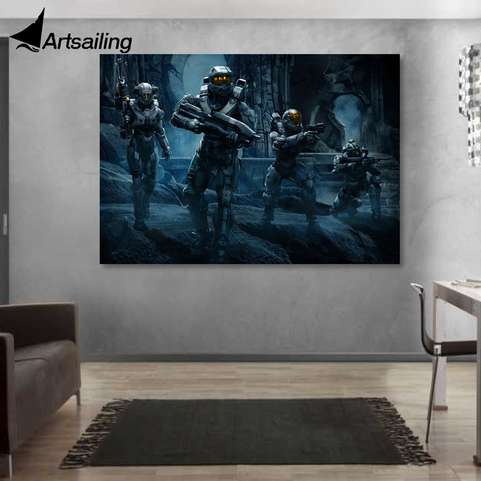 1 piece canvas art HALO 5 guardians team soldiers canvas painting posters and prints wall paintings for living room XA1656C