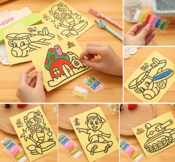 5pcs lot Children Kids Drawing font b Toys b font Sand Painting Pictures Kid DIY Crafts