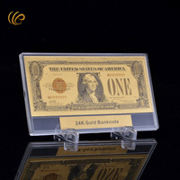 One Dollar Colorful Gold Banknote American World Currency Paper Money with Showing Stand for Home Decor and Collection