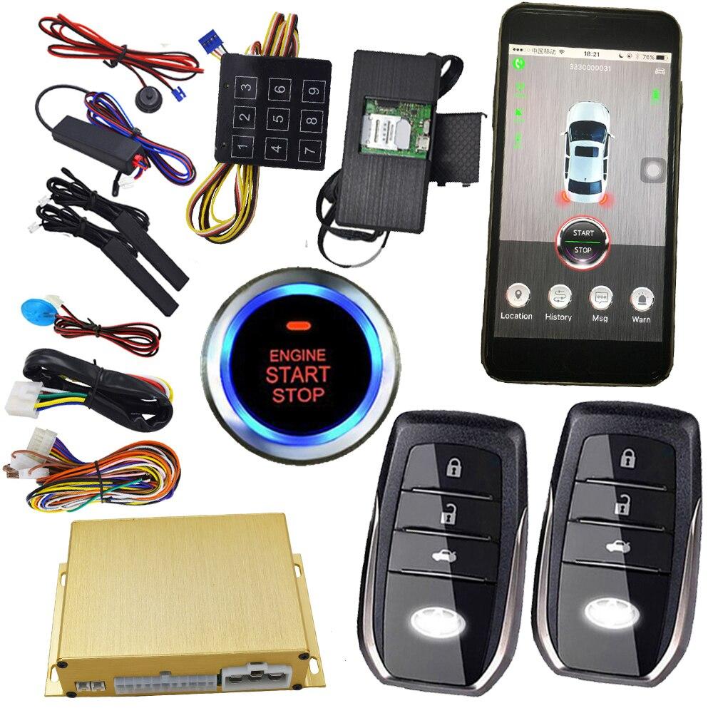 Cellulaire téléphone intelligent app sans clé auto verrouillage central à distance start stop moteur passcodes emergeny déverrouiller la porte de voiture gps emplacement en ligne
