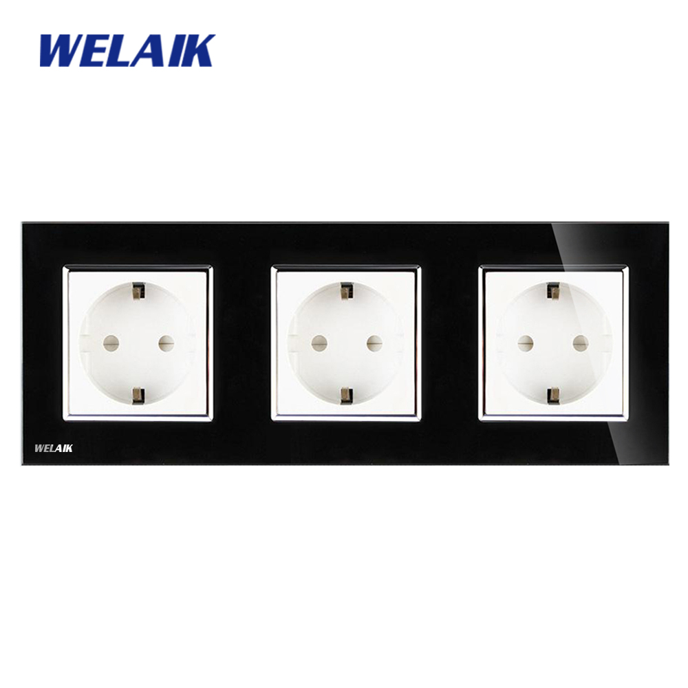 WELAIK Glass Panel Wall Socket Wall Outlet Black European Standard Power Socket AC110~250V A38E8E8EB welaik glass panel wall socket wall outlet white black european standard power socket ac110 250v a38e8e8ew b