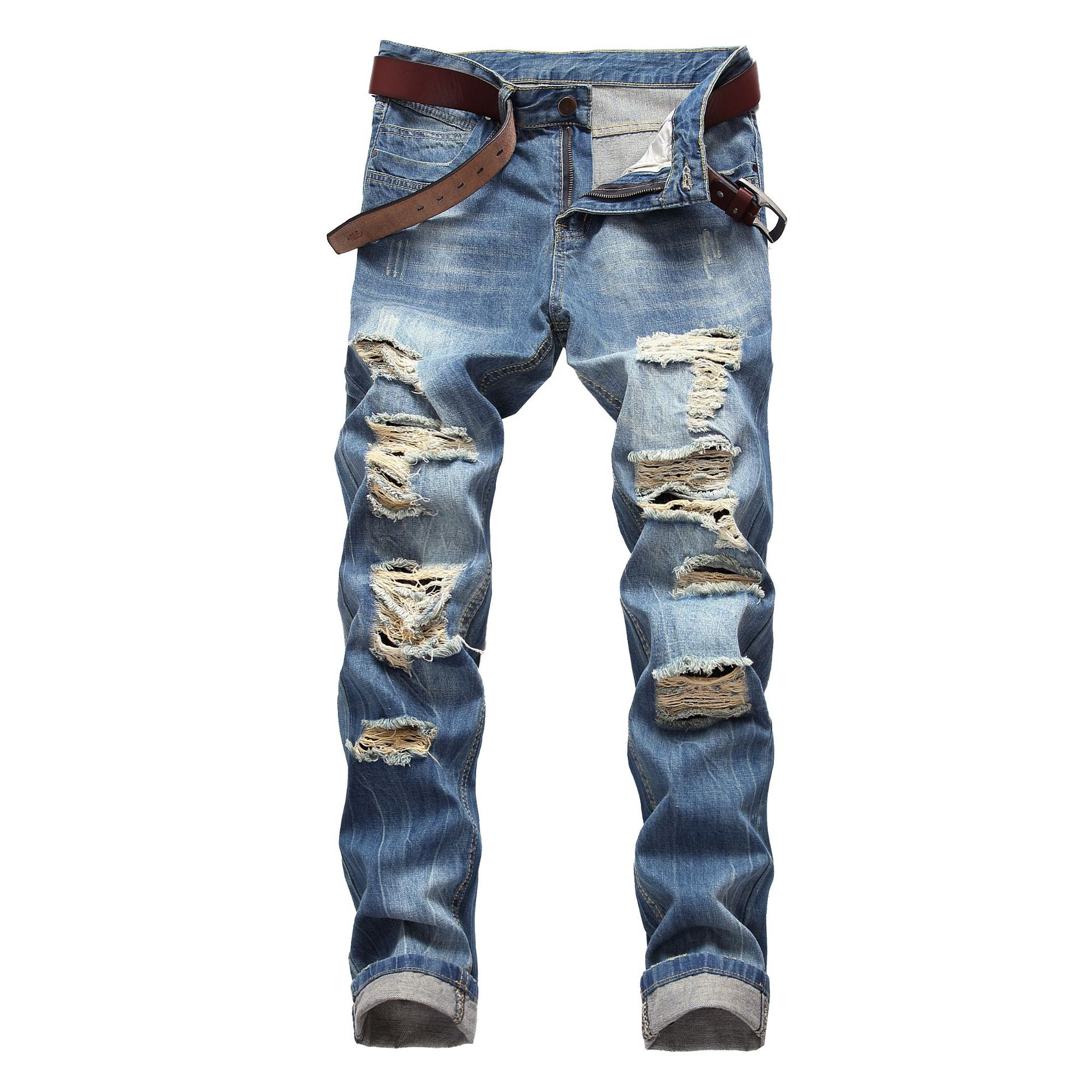 LIYT Mens Ripped Destroyed Straight Fit Washed Patchwork Patches Denim Jeans Trousers