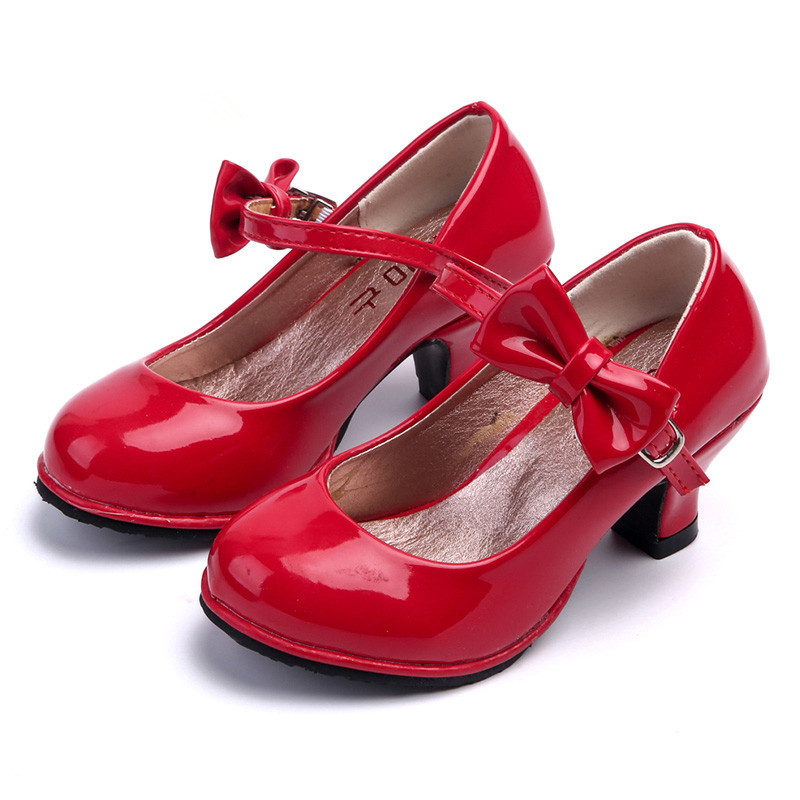JGVIKOTO Summer Autumn Girls Sandals PU Patent Leather Kids Shoes High Heel Children Shoes For Big Girls Bow-knot Ankle Strap