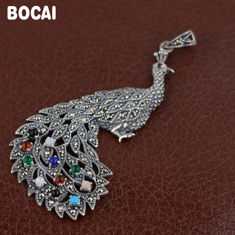 S925 sterling silver inlay process female models peacock open screen pendant s925 pure silver personality female models new beeswax