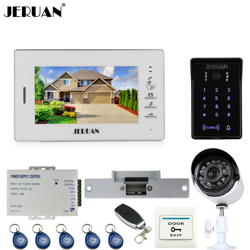 JERUAN 7`` Video Door Phone Intercom System kit waterproof Password keyboard Access Camera + 700TVL Analog Camera+remote controlJERUAN 7`` Video Door Phone Intercom System kit waterproof Password keyboard Access Camera + 700TVL Analog Camera+remote control