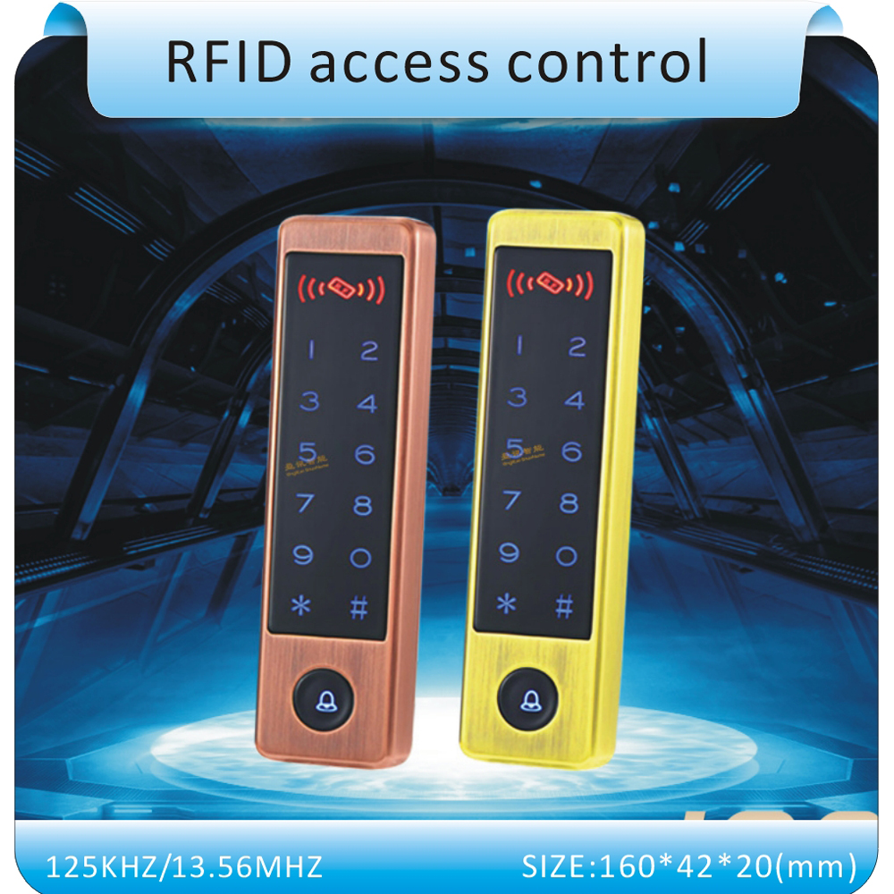 ФОТО 2016 the newest metal touch keyboard access control system/Entrance guard  password &RFID 125KHZ /13.56MHZ +10pcs crystal keyfob