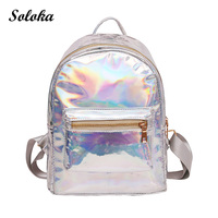 Hot Laser Backpack Girl School Bag Women Simple Metallic Silver Laser Holographic Bright Backpack Travel Bag