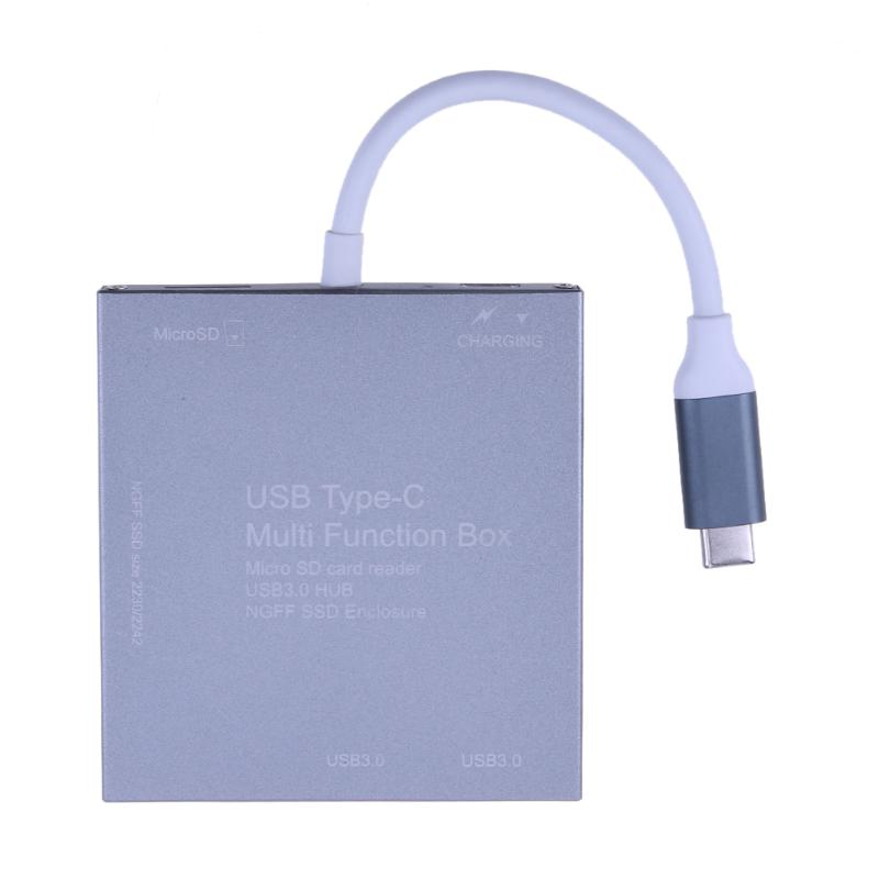 USB 3.0 Hub Type C to M.2 NGFF SSD Enclosure Multifunction Mobile Hard Disk Box Micro SD adapter charging cord memory Card