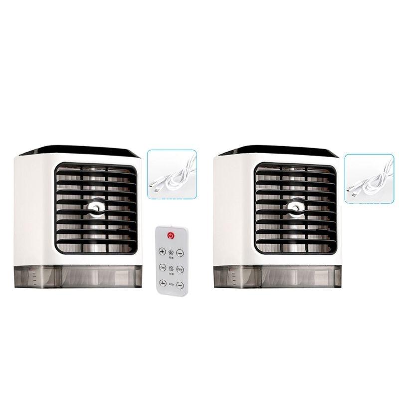 Ventiladores portátiles humidificador de aire frío purificador de aire refrigeración Aire Acondicionado ventilador pequeño escritorio ventilador mesa de sobremesa humedad Sp - 2