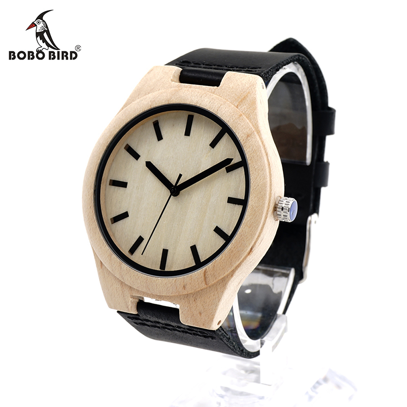 BOBO BIRD V-F21 Unique Watches Mens Bamboo Wooden Quartz Watch with Leather Strap Relojes Hombre bobo bird v a10 unique vogue womens bamboo wooden watch quartz outdoor sport watches with genuine leather strap montre femme