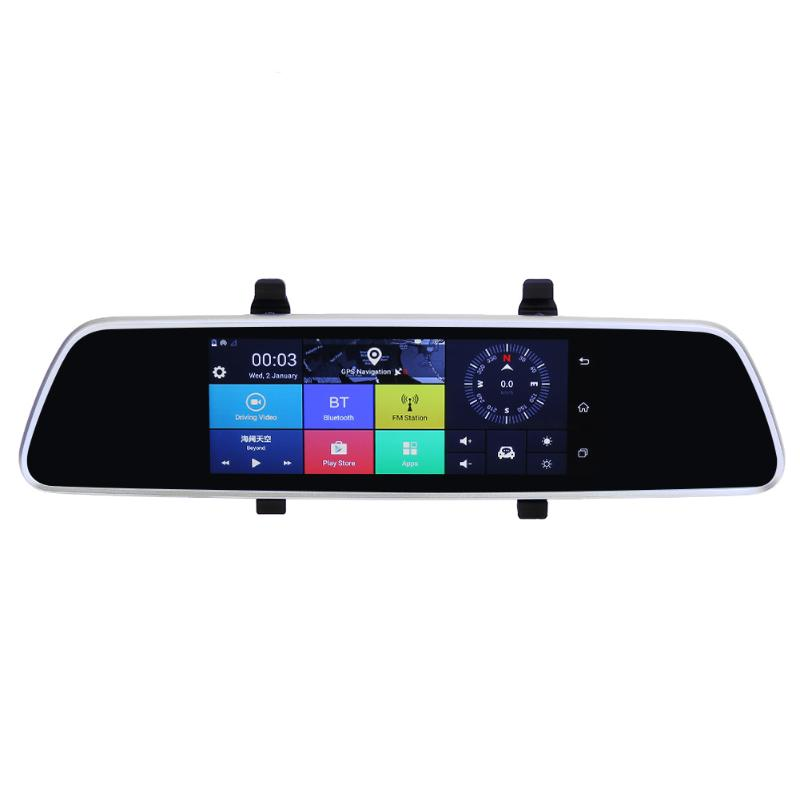 VODOOL 7 pouce Voiture DVR Bluetooth Dash Caméra Android 5.0 WIFI GPS 1080 p Vidéo Enregistreur Double Lentille Arrière Vue miroir DVR Caméra