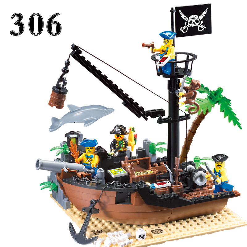 178 pcs Pirate Ship Scrap Dock Building Blocks Model Toys Compatible With Legoe For Children Christmas Gift susengo pirate model toy pirate ship 857pcs building block large vessels figures kids children gift compatible with lepin