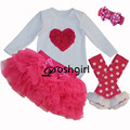 Newborns Romper Tutu Saia Skirt Set Baby Girl Clothing Sets Roupas Meninos Love Heart 4Pcs Set Bebe Birthday Clothes Valentines