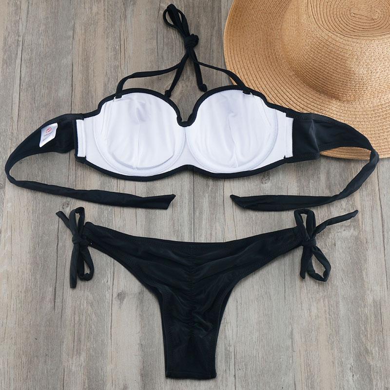 HTB19DEHdsLJ8KJjy0Fnq6AFDpXa7 Bikini Solid Strappy Bandage Bikinis Set White Push Up Bikini Swimwear Bandeau Brazilian Swimsuit Bathing Suit Maillot De Bain