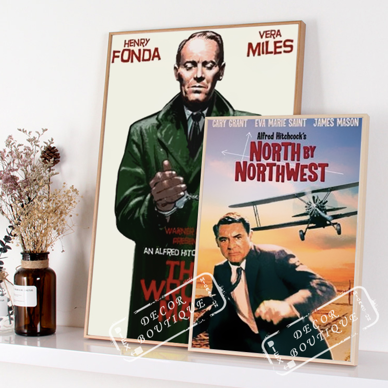 North by Northwest Alfred Hitchcock Movie Film Retro Vintage Poster Canvas Painting Wall Sticker Home Art Home Decor Gift image