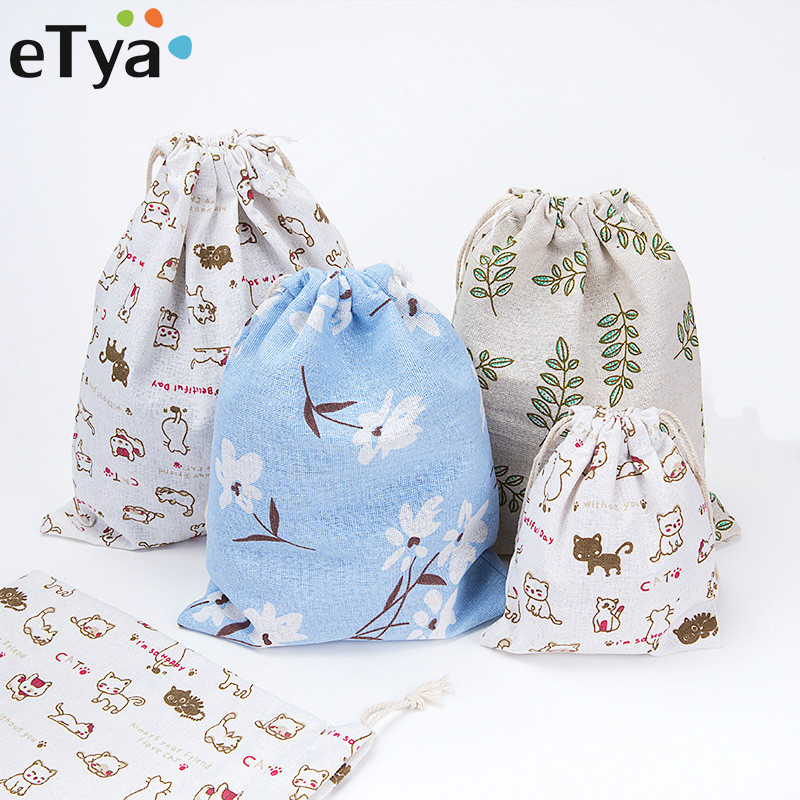 eTya Fashion Printing Drawstring Bags Cute Student Bag Travel Pouch Shoes Storage Clothes Handbag Cosmetics Wash Bags for Women все цены