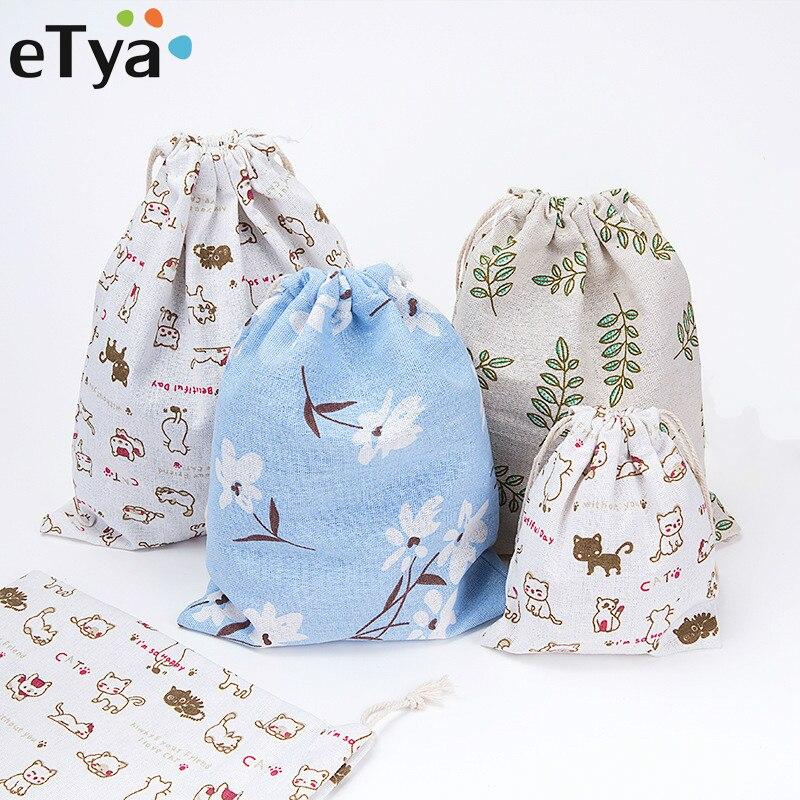 eTya Fashion Printing font b Drawstring b font font b Bags b font Cute Student font