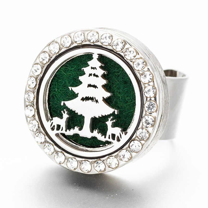 Difusor de Aroma de Cristal Anel De Aço Inoxidável Árvore de Natal Fit Ajustável Homens e mulheres Da Moda Jóias Enviar 1 feltro YLS05