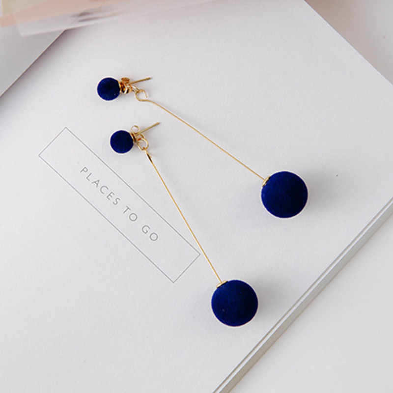 Red Black Fashion Plush Ball Drop Earrings For Women Korean Velvet Round Tassel Long Dangle Earrings Gift Jewelry Statement