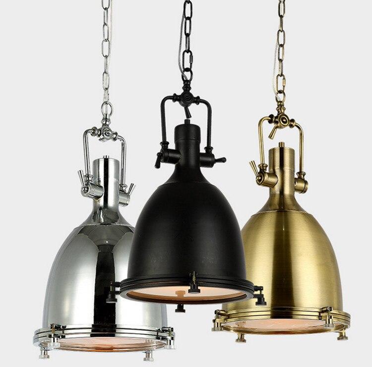 Americana lámpara vintage E27, cobre/cromo/Negro colgante Lámparas ...