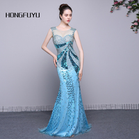 New Arrival Long Evening Dress Real Sample Scoop Sleeveless Prom Dresses Mermaid Beading See Through The Back Formal Party Gowns