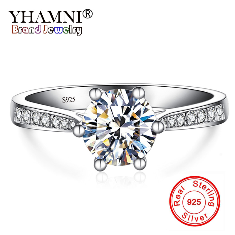 YHAMNI Luxury 1 ct 6mm CZ Zircon Fashion Ring 925 Sterling Silver Fine Jewelry Bride Engagement Wedding Rings for Women YL11