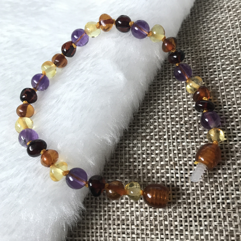 HTB19DEuoL2H8KJjy0Fcq6yDlFXab Yoowei 9 Color Baby Amber Bracelet/Necklace Natural Amethyst Gems Adult Baby Teething Necklace Baltic Amber Jewelry Wholesale