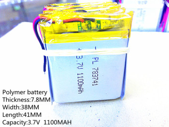 1pcs Polymer battery 1100 mah 3.7 V 783841 smart home MP3 speakers Li-ion battery for dvr,GPS,mp3,mp4,cell phone,speaker image