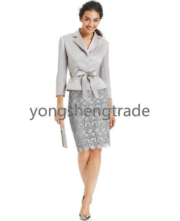 100% Wahr Belted Jacke & Spitze Rock Anzug Silber Anzug Nach Maß Anzug Kerb Kragen Druckknopf Verschlüsse Keine Taschen 714