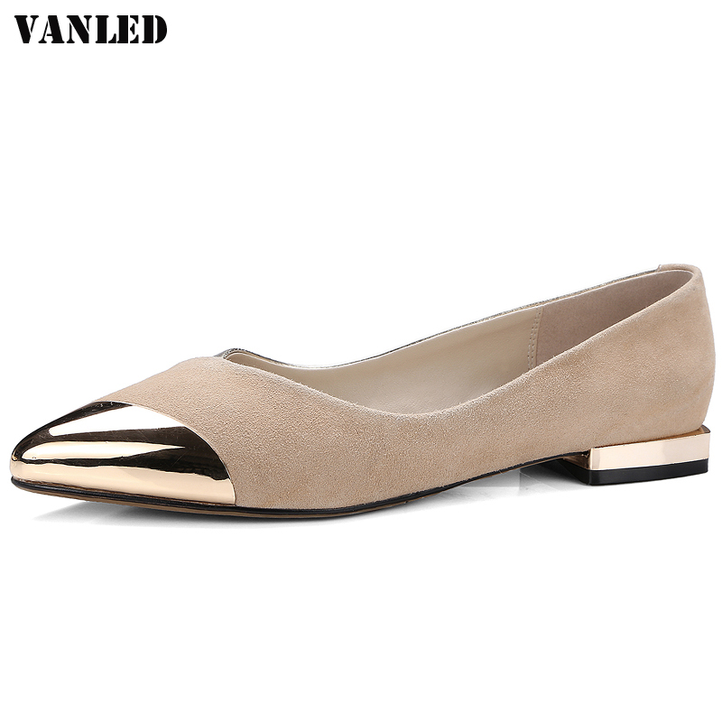VANLED Metal Decoration Women Flats Casual Fashion Women Flat Shoes Pointed Toe Ladies Flat Brand New Summer Flat Lazy Shoes new 2017 spring summer women shoes pointed toe high quality brand fashion womens flats ladies plus size 41 sweet flock t179