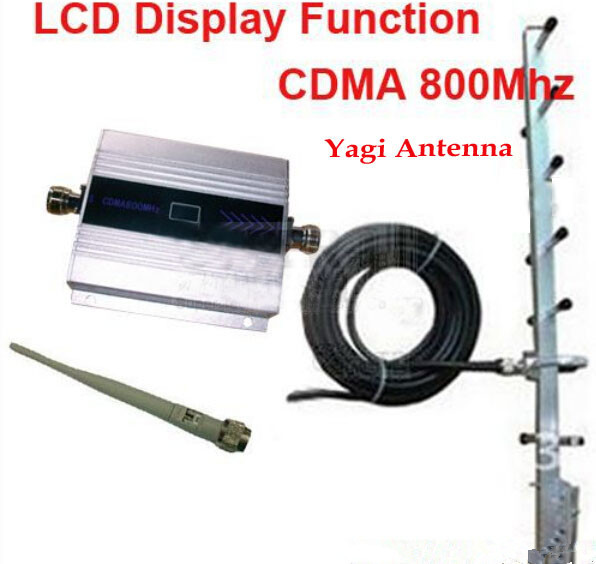LCD Display Repeater CDMA GSM 850MHz Signal Repeater Booster 10m Cable+Antenna +13dbi 9 Units Yagi Antenna Gsm Repeater