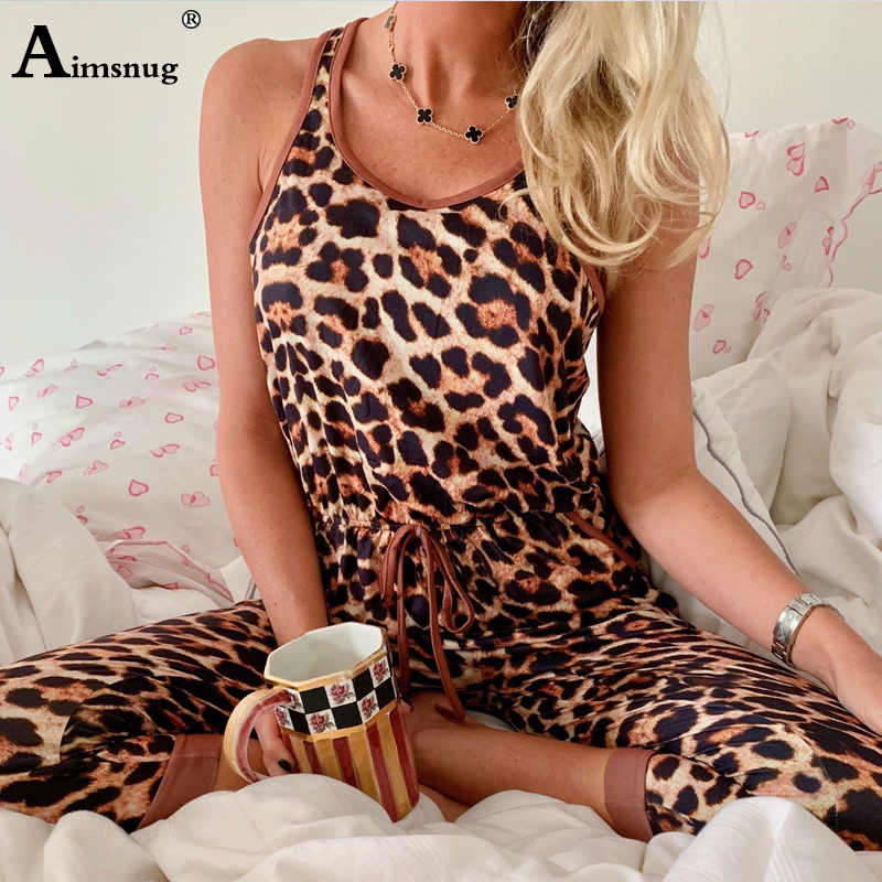 Sexy Jumpsuits V Neck Leopard Women With Belt Body Femme Macacao Feminino Calf Length Playsuit Overalls Print Summer Jumpsuit in Jumpsuits from Women 39 s Clothing