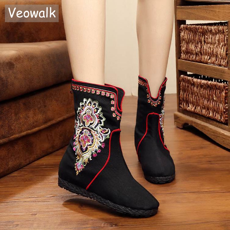 Veowalk New Winter Women Boots Flowers Embroidered Canvas Short Ankle Boots Soft Single Boots Zip Hidden Botas Mujer Black/Red sequin embroidered zip up jacket