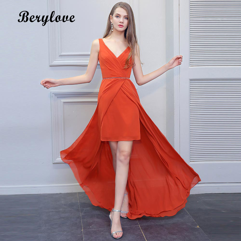 BeryLove Long Orange Asymmetrical Evening Dresses 2018 Sexy V Neck Prom Dresses Special Occasion Dresses Formal Party Dress Gown