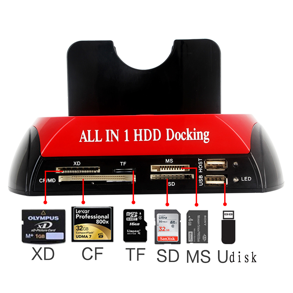 2.5'' 3.5'' 2 IDE 1 SATA USB2.0 Dual External Hard Disk Drive Twin Docking Station Clone Copy OTB HUB Reader