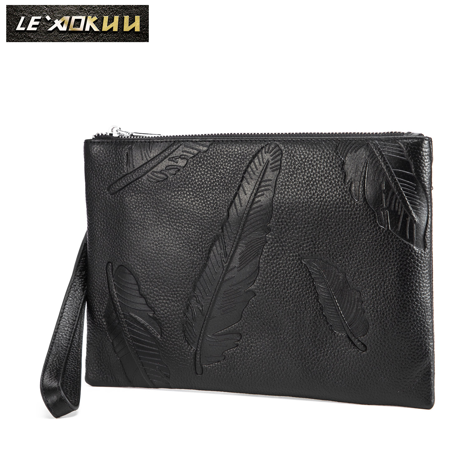 "Original leather Men Brand Fashion Slim Under Arm Clutch Bag Handbag Designer Chain Organizer Purse 10"" Tablet Case 6683(China)"