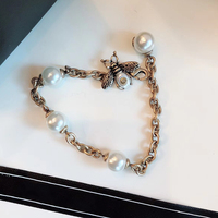 2018 New Hot Brand Fashion Jewelry For Women Cute Bee Vintage Pearl Bangle Party Vintage Bee Pear Bracelet Yellow Brass Jewelry