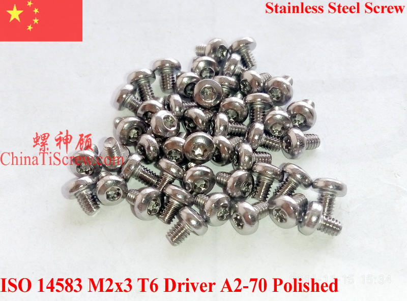 Stainless Steel Screws M2x3 ISO 14583 Pan Head Torx T6 Driver A2-70 Polished ROHS 100 pcs