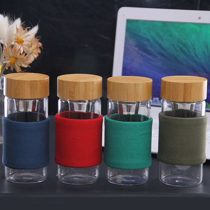 400ml Portable Glass Water Bottle With Bamboo Lid