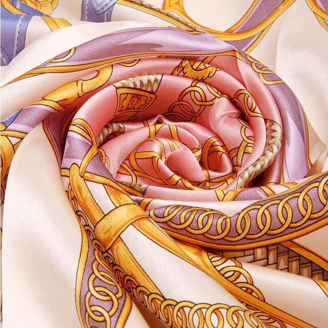 100% шелковицы женщины шелковый шарф платок печатных горячая распродажа цепь рисунок марка шелковый глушитель большой кондиционер мыс платок