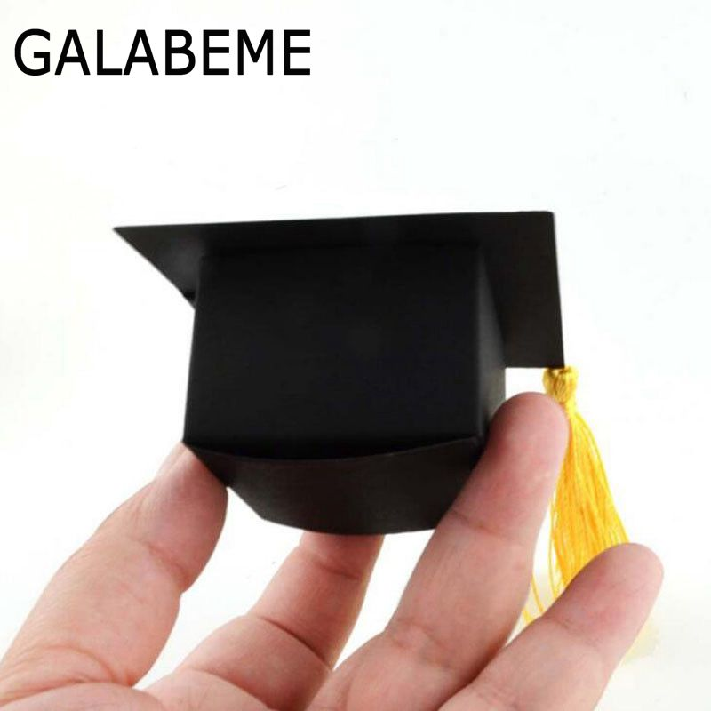 Galabeme 50pcs Doctor Hat Cap Candy Box gift bag Graduation Celebration boys girls kids birthday Childrens Day gift package Dec