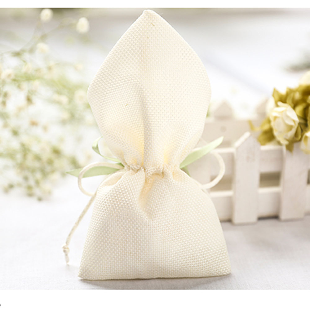 50x Linen Ivory Wedding Favors and Gifts Bags for Guests Birthday ...