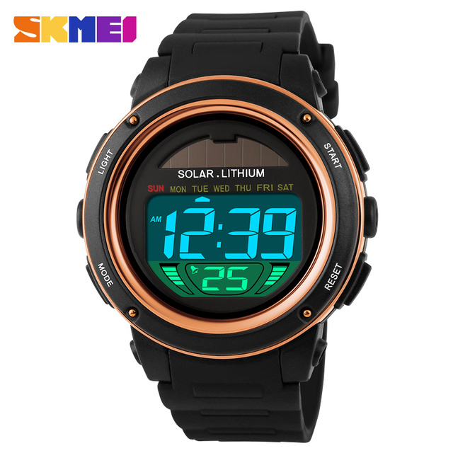 Solar Power Sport Watch Men Electronic LED Watches Military Outdoor Watch SKMEI