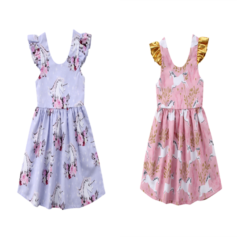 Kids Baby Girl Unicorn Dress Summer Floral Party Princess Dress Casual Toddler Girl Dresses Sundress unini yun 2 7t girl dress baby kids summer flower cherry backless sundress girl cotton sleeveless princess beach casual dresses