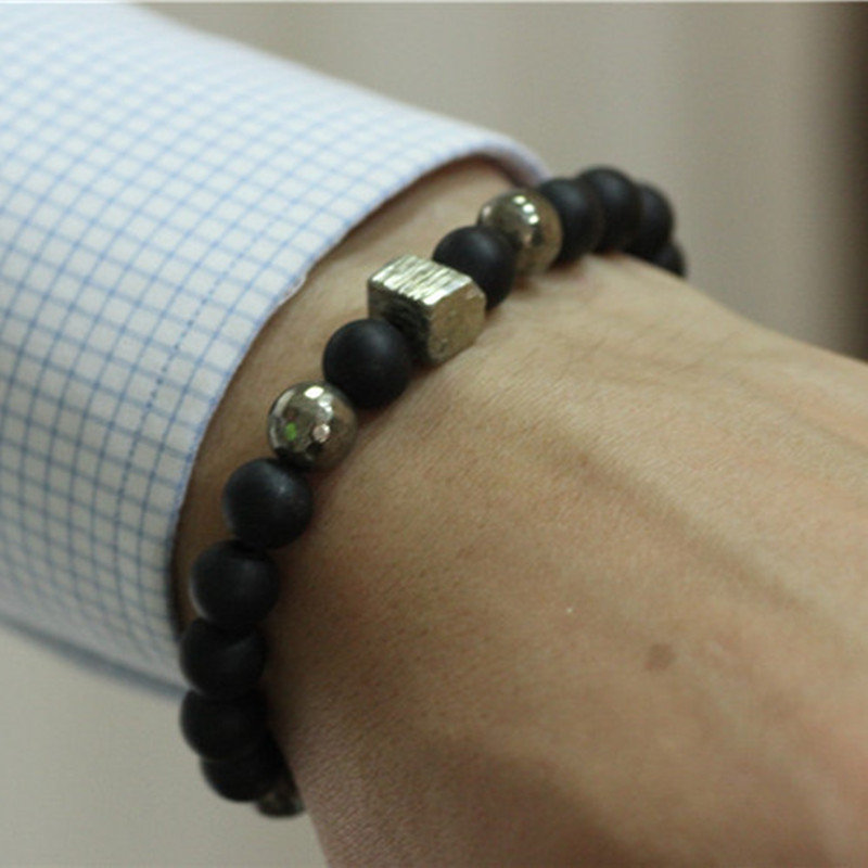 Pyrite Mens Bracelet Black Matte Agate Beads Stretch Bracelet Mens Bracelets Jewelry Mala Bracelets Erkek Bileklik